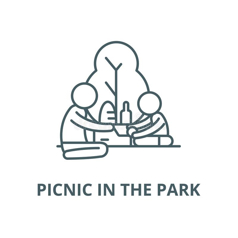 Picnic in the park vector line icon, linear concept, outline sign, symbol. Picnic in the park vector line icon, outline concept, linear sign vector illustration