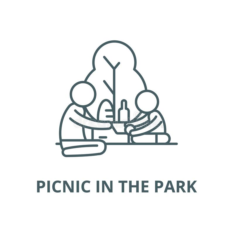 Picnic in the park vector line icon, linear concept, outline sign, symbol. Picnic in the park vector line icon, outline concept, linear sign stock illustration