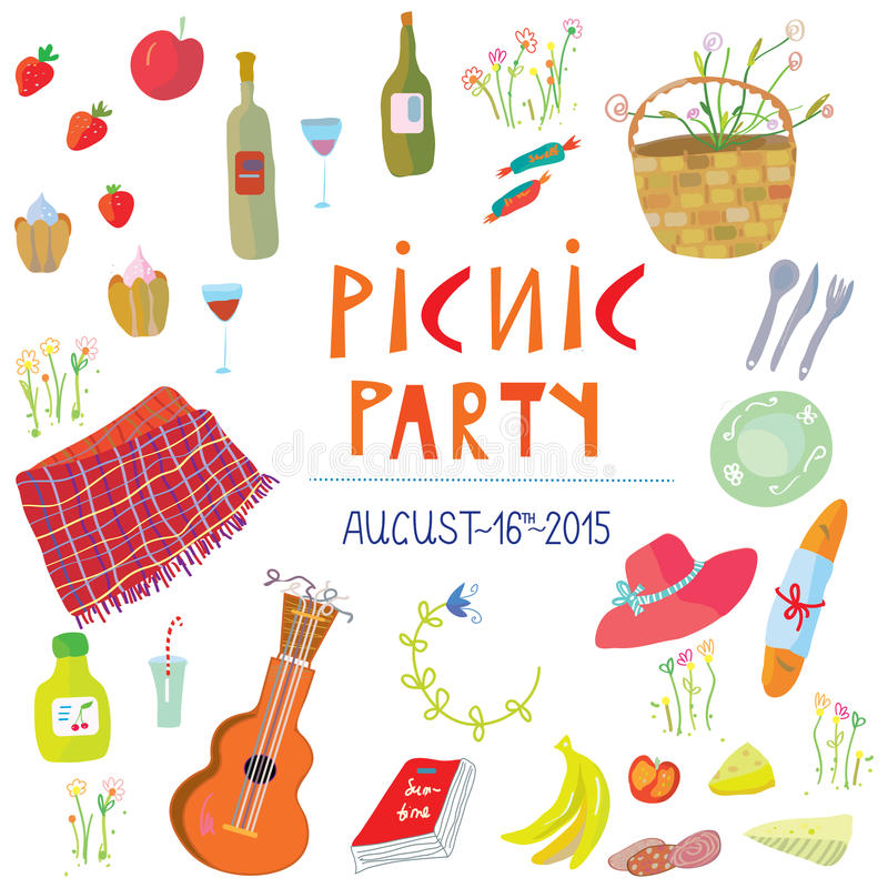 Picnic party banner - illustration royalty free illustration