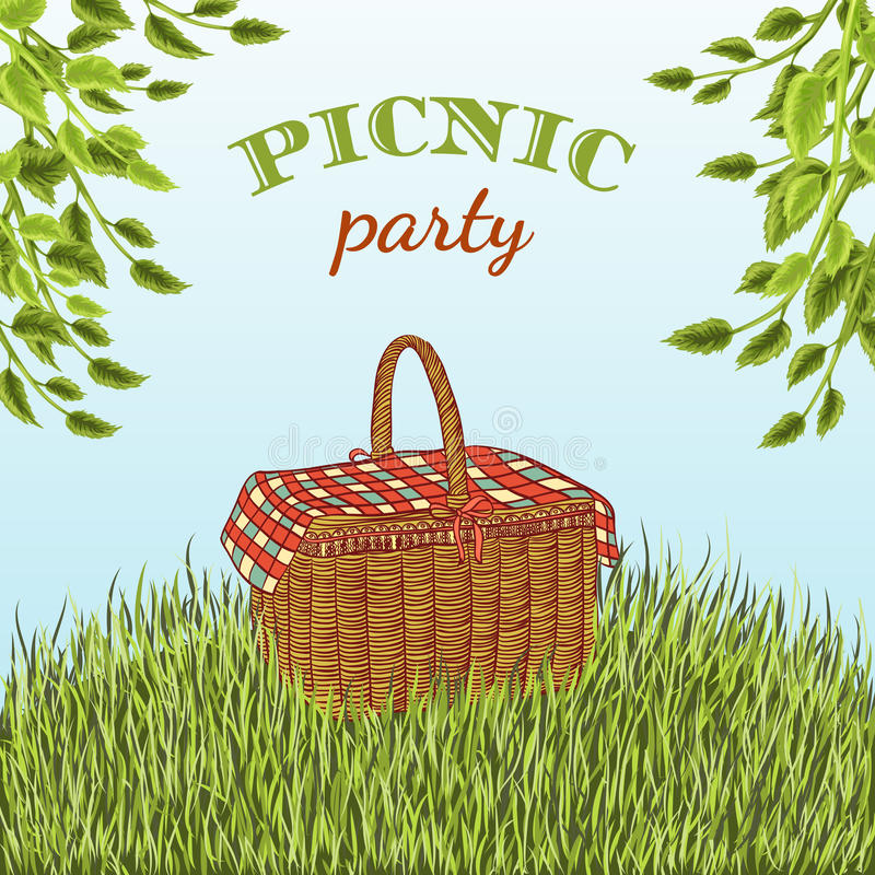 Picnic party in meadow with picnic basket and tree branches. Summer vacation. royalty free illustration