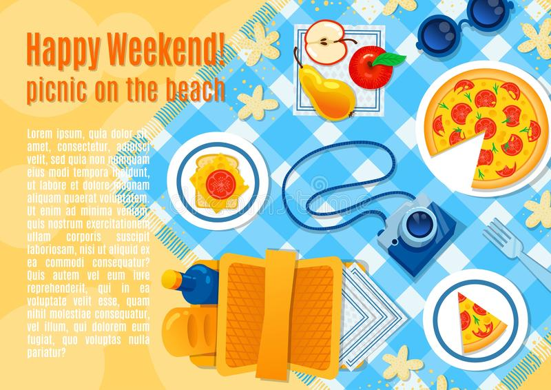 Picnic on the sand vector illustration. Picnic pizza, basket, camera, apple, sandwich, checkered tablecloth. Happy summer sea stock illustration