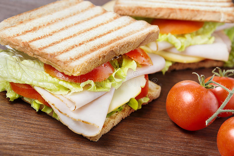 Picnic sandwiches stock image