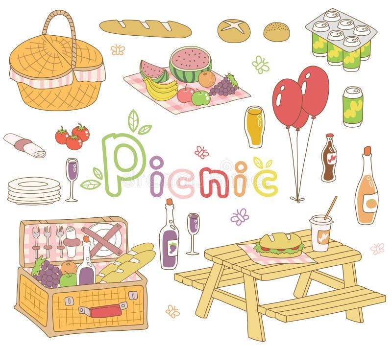 Picnic set. An illustration set of picnic goods
