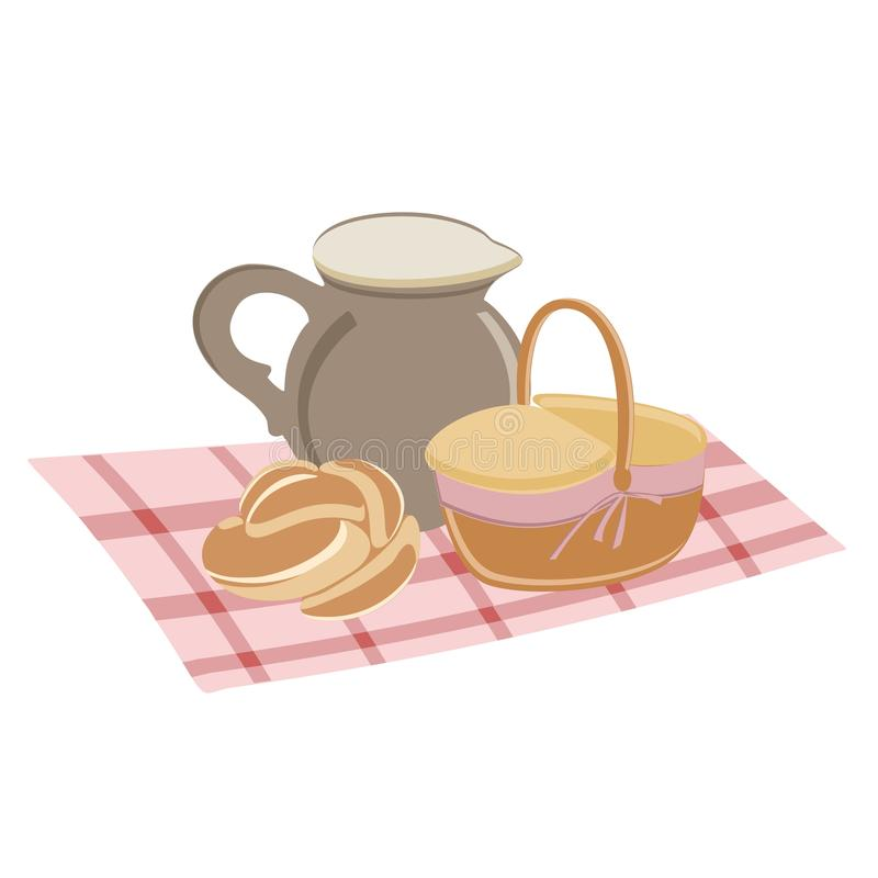 Picnic set straw baskets, bread a jug of milk. Isolated on white background. vector illustration