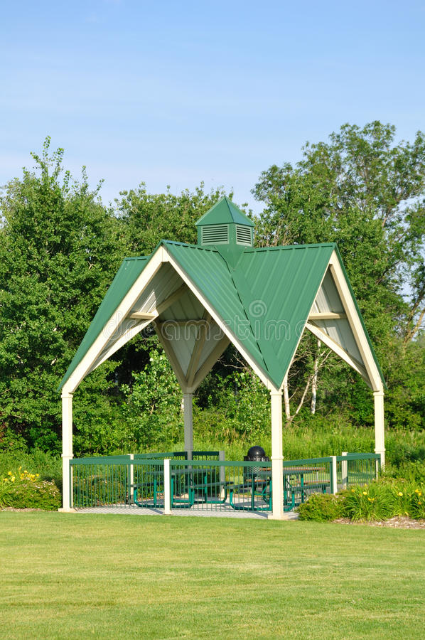 Download Picnic Shelter in Park stock image. Image of weather - 15201519