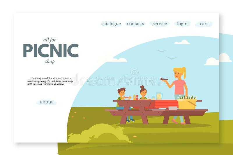 Picnic shop flat landing page vector template. Outdoor leisure, camping website, webpage. Two cheerful kids and smiling woman cartoon characters. BBQ party royalty free illustration