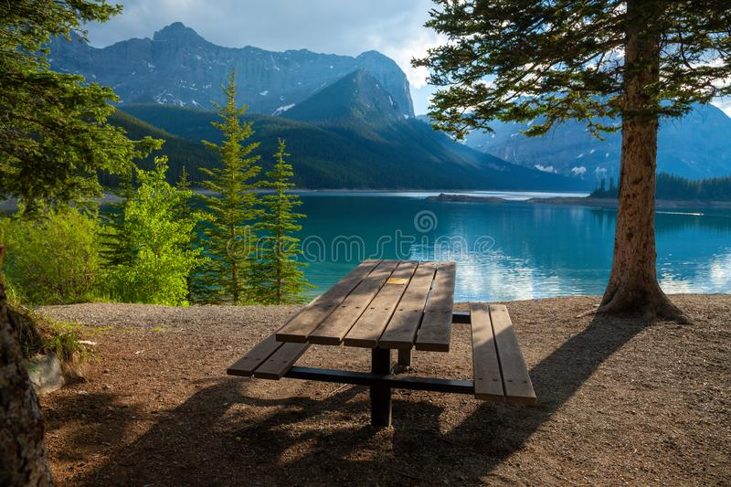 A picnic site at Upper Kananaskis Lake in the Canadian Rocky Mountains royalty free stock photo