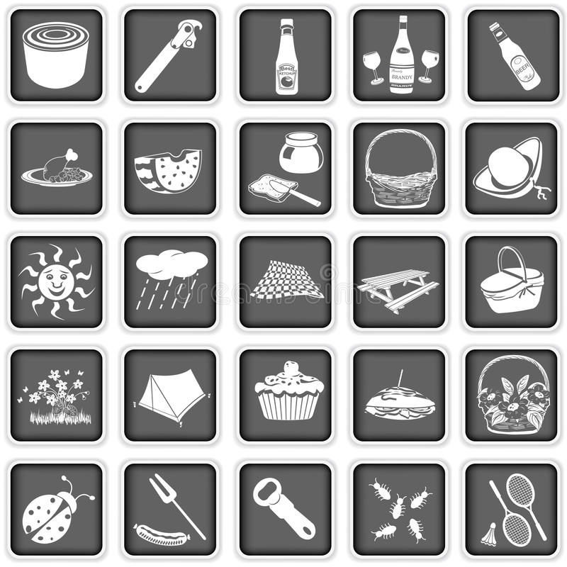 Picnic squared icons royalty free illustration