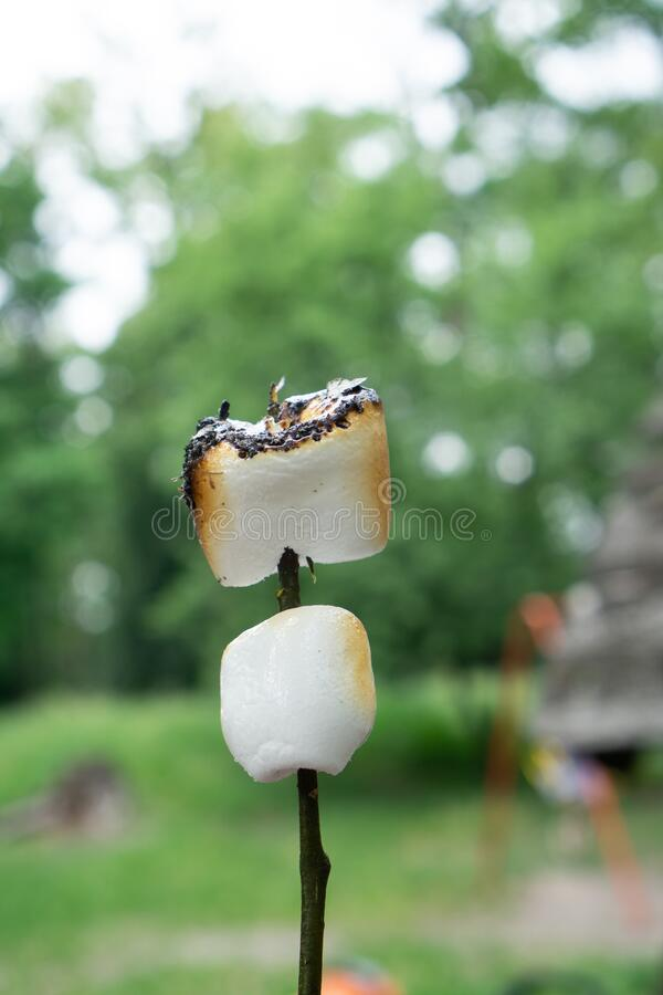 Picnic with sweets in the open air outdoors. Marshmallow on bonfire with burning fried crust and smoke. Picnic with sweets in the open air outdoors royalty free stock images