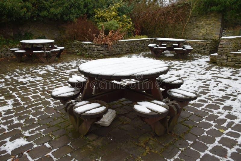 Picnic table in Castleton, Peak District National Park, UK. Photo taken on Dec 8th, 2017 royalty free stock images