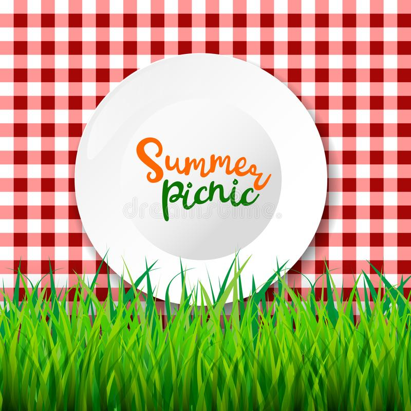 Picnic table cloth. Seamless checkered vector pattern. Vintage color plaid fabric texture. stock illustration