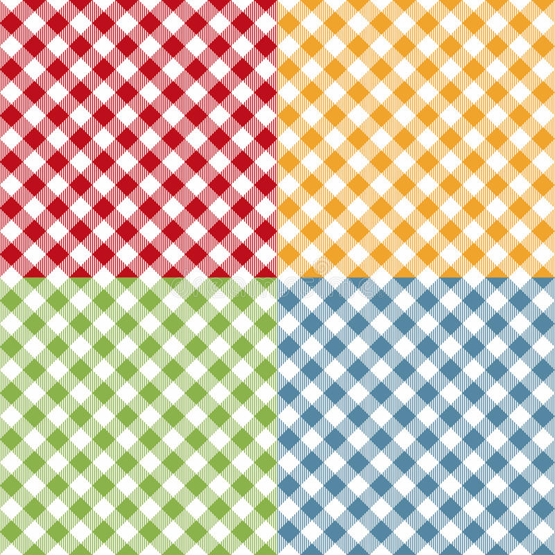 Picnic table cloth seamless pattern set. Picnic plaid texture vector illustration