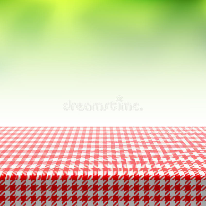 Picnic table covered with checkered tablecloth vector illustration