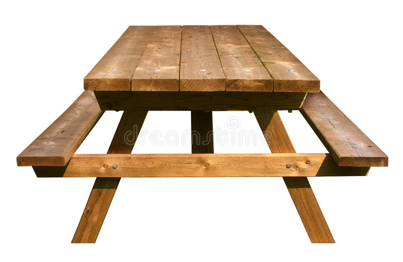 Picnic Table Front View. Made of weathered wood on an isolated white background as a symbol of summer and barbecue leisure activity royalty free stock photos