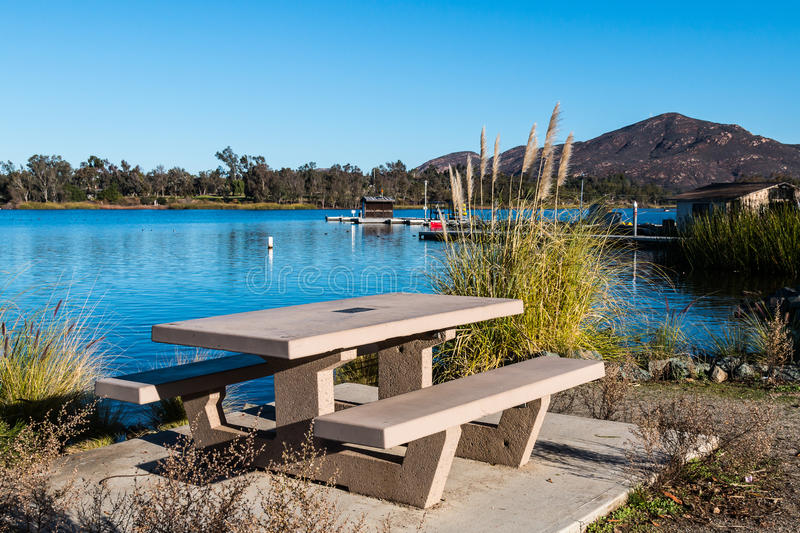 Picnic Table at Lake Murray with Cowles Mountain stock photos