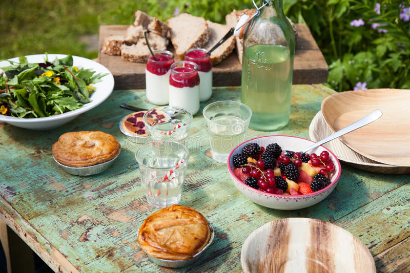 Picnic table setting stock photography
