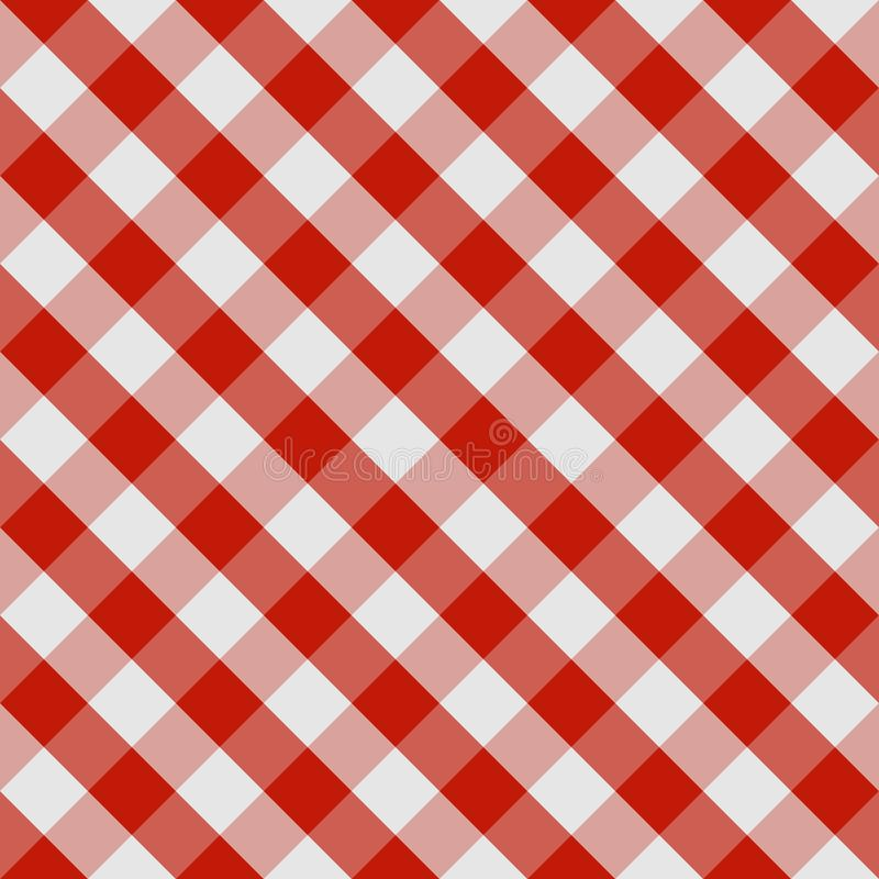 Picnic tablecloth seamless checkered pattern in red and white tones. Vector image royalty free illustration