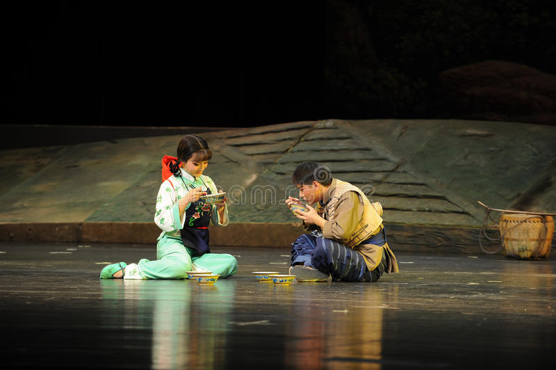 Picnic taste- Jiangxi opera a steelyard. Jiangxi opera a steelyard is adapted from a true story: the last century fortys, the protagonists father runs an oil stock photo