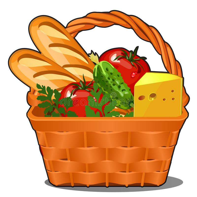 Picnic wicker basket with food product, fresh vegetables, piece of cheese, fresh loaf isolated on white background stock illustration