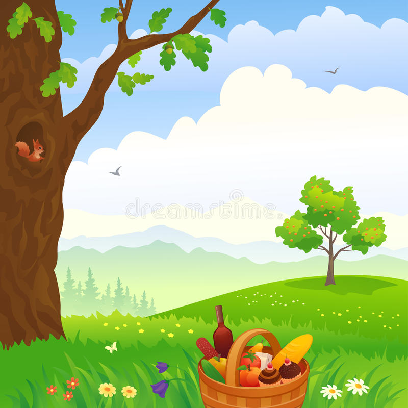 Picnic in the woods stock illustration