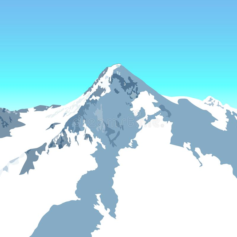 Pico alpino nevado ilustração royalty free