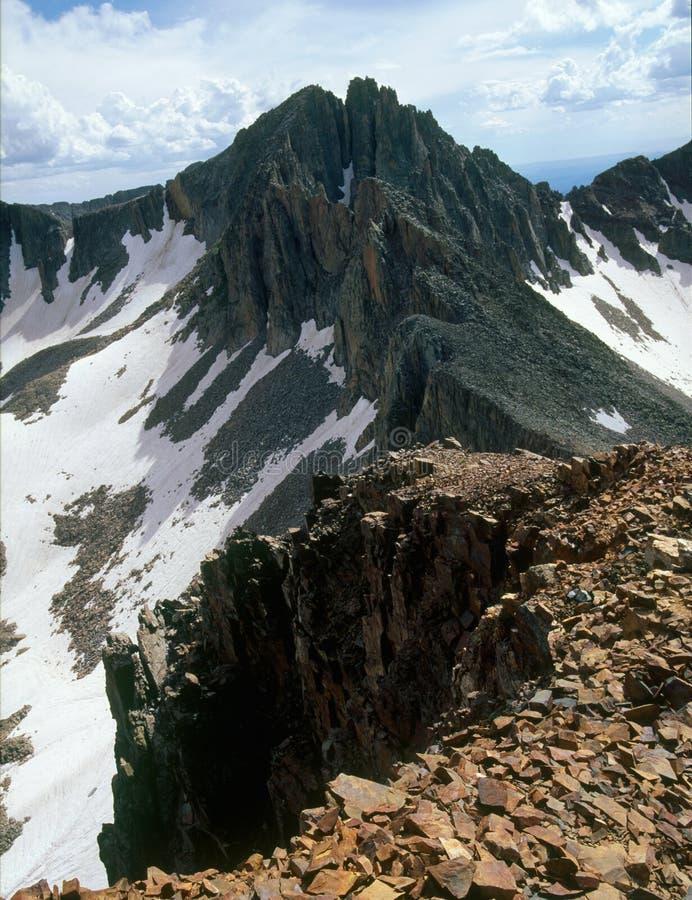 Pico de la lavanda de la cumbre del pico centenario, montañas de La Plata, San Juan National Forest, Colorado fotos de archivo