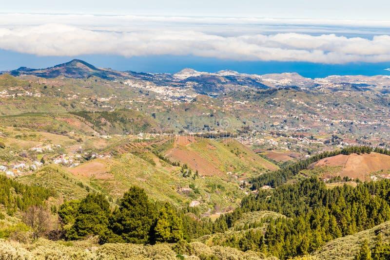 从Pico de las Nieves -大加那利岛,西班牙的看法 免版税库存图片