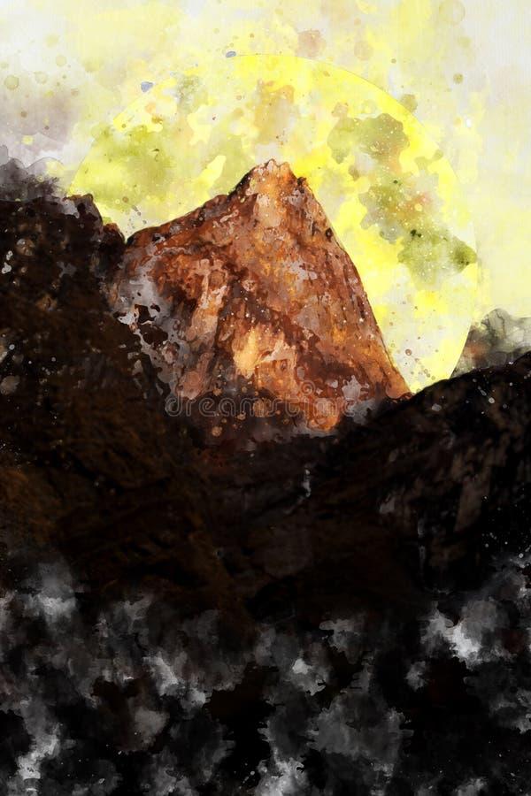 Pico de montaña abstracto con la luna ilustración del vector