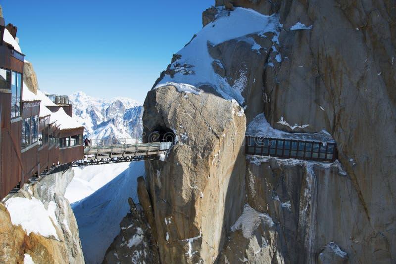 Pico de montaña Aiguille du Midi, Francia imagen de archivo libre de regalías