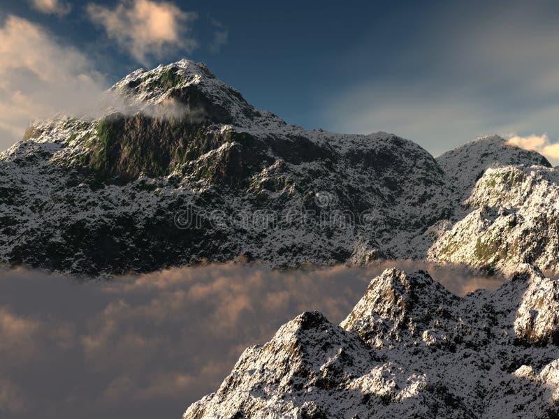 Pico de montaña Nevado y nubes inferiores. stock de ilustración