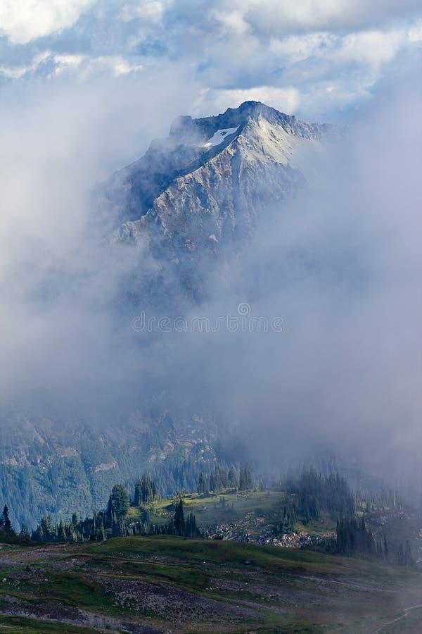 pico de montaña que sube para arriba sobre las nubes y la niebla con el bosque abajo abajo imágenes de archivo libres de regalías
