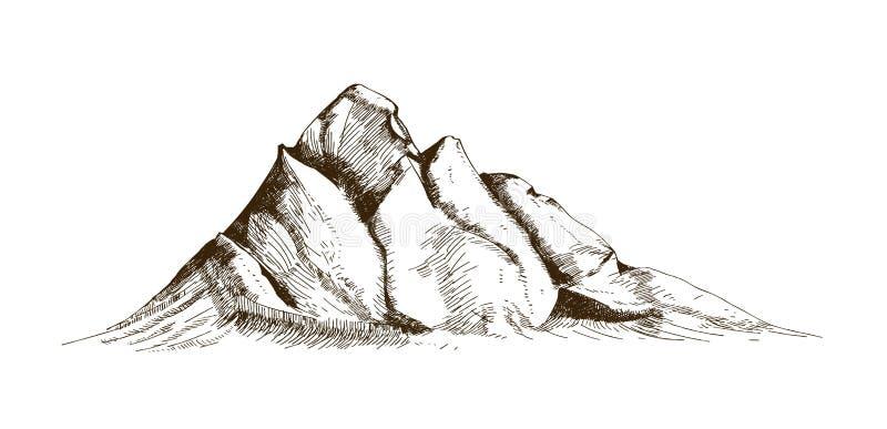 Pico de montaña, top o mano de la cumbre dibujada con las líneas de contorno en el fondo blanco Dibujo retro elegante del acantil ilustración del vector