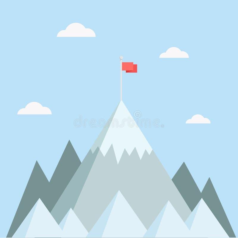 Pico de montanha com ilustração do vetor da bandeira ilustração do vetor