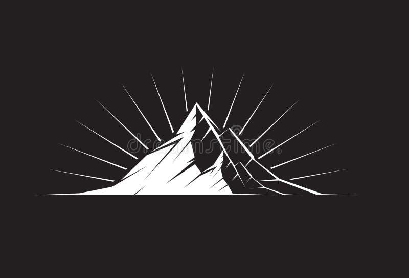 Pico de montanha na noite ilustração stock