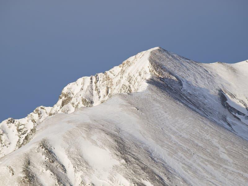 Pico de montanha nevado imagens de stock
