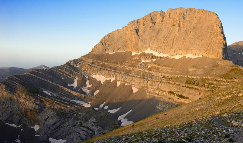 Pico de Olympus Stefani da montanha em Grécia fotos de stock royalty free