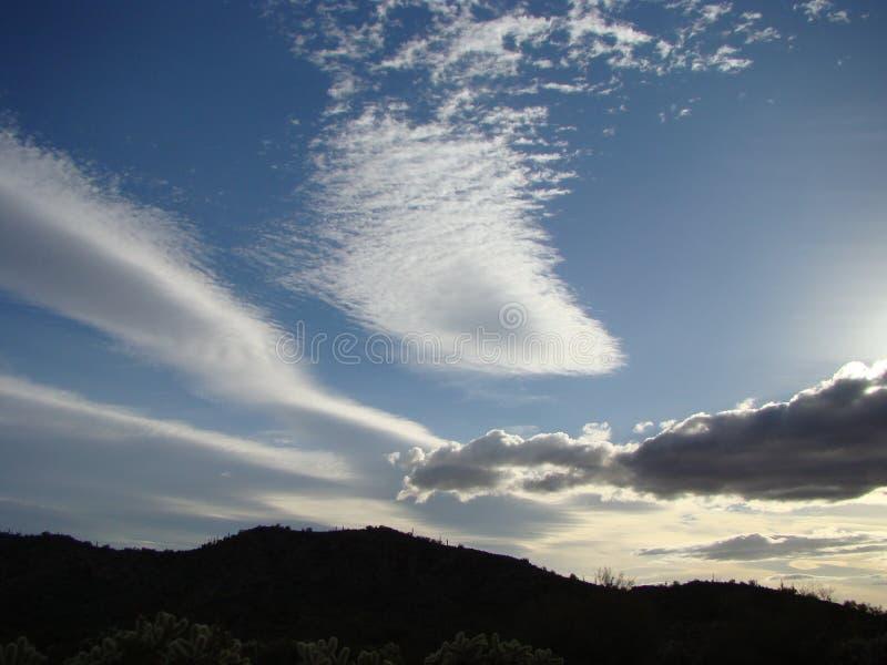 Pico do abutre do céu da noite, AZ fotografia de stock royalty free