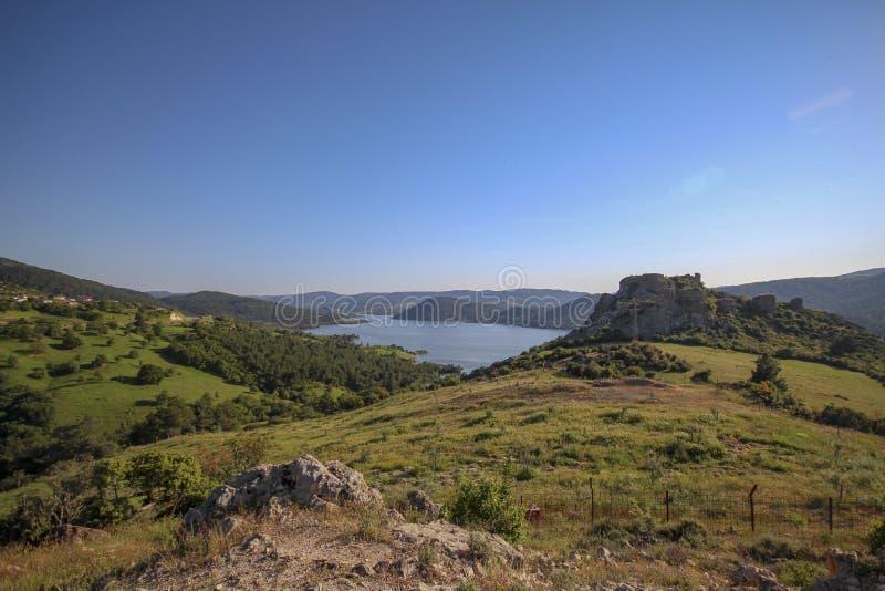 Pico e paisagem da vasta área fotografia de stock