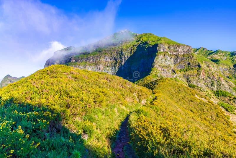 Pico Grande, Madeira island, Portugal. Beautiful landscape with famous Pico Grande mountain peaks, Madeira island, Portugal royalty free stock photos