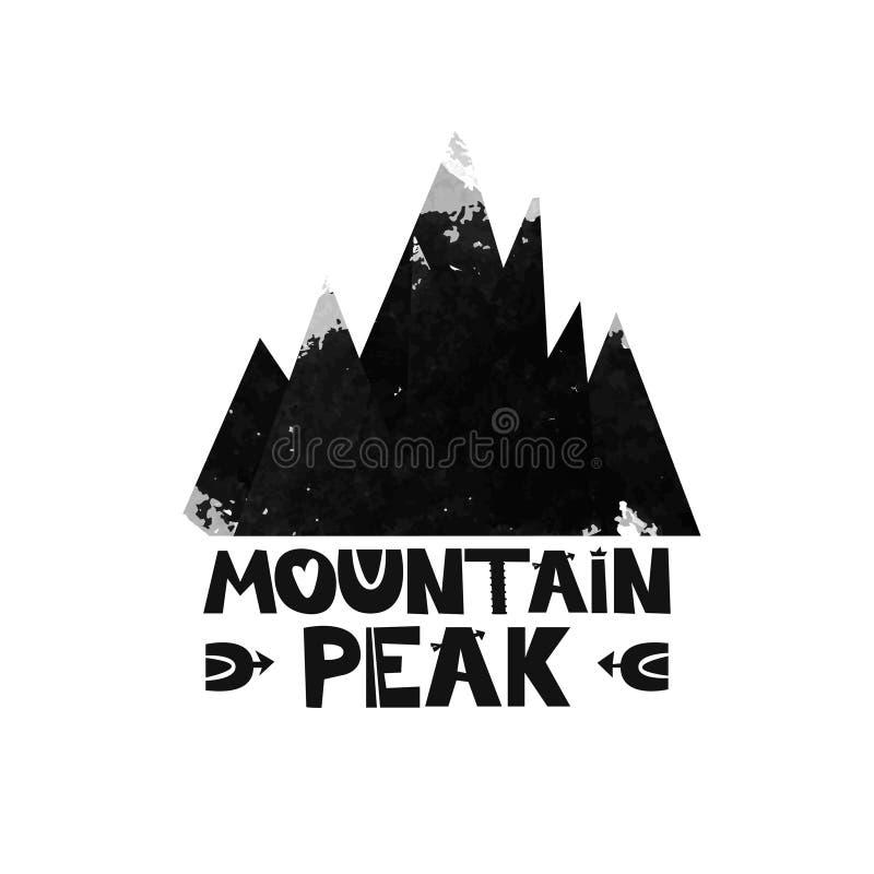 Pico superior de la montaña Poner letras al texto Silueta de la acuarela de las montañas negras Vector stock de ilustración