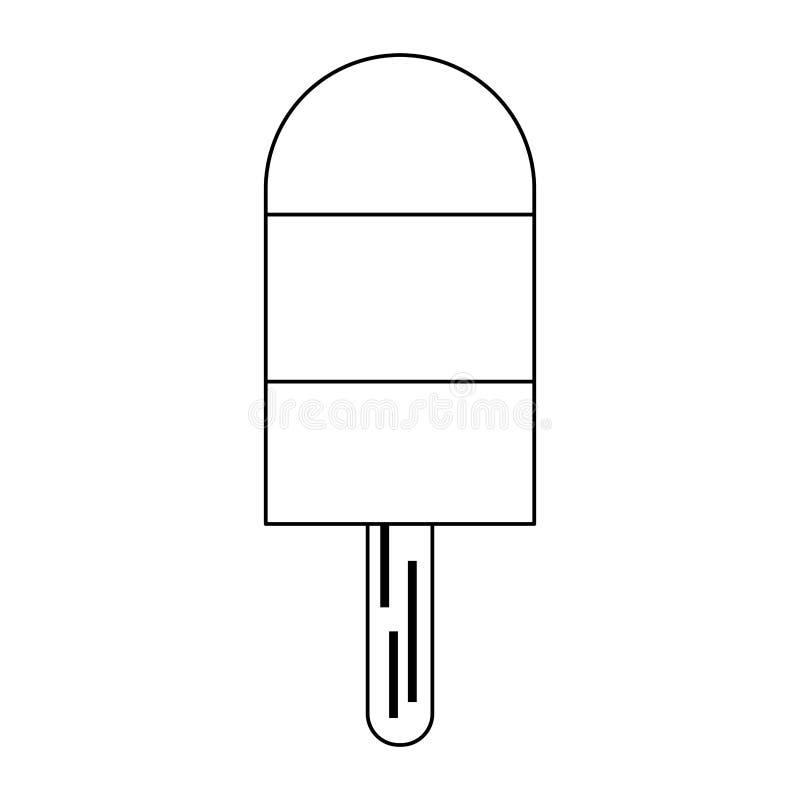 Picolé com a vara de madeira preto e branco ilustração do vetor