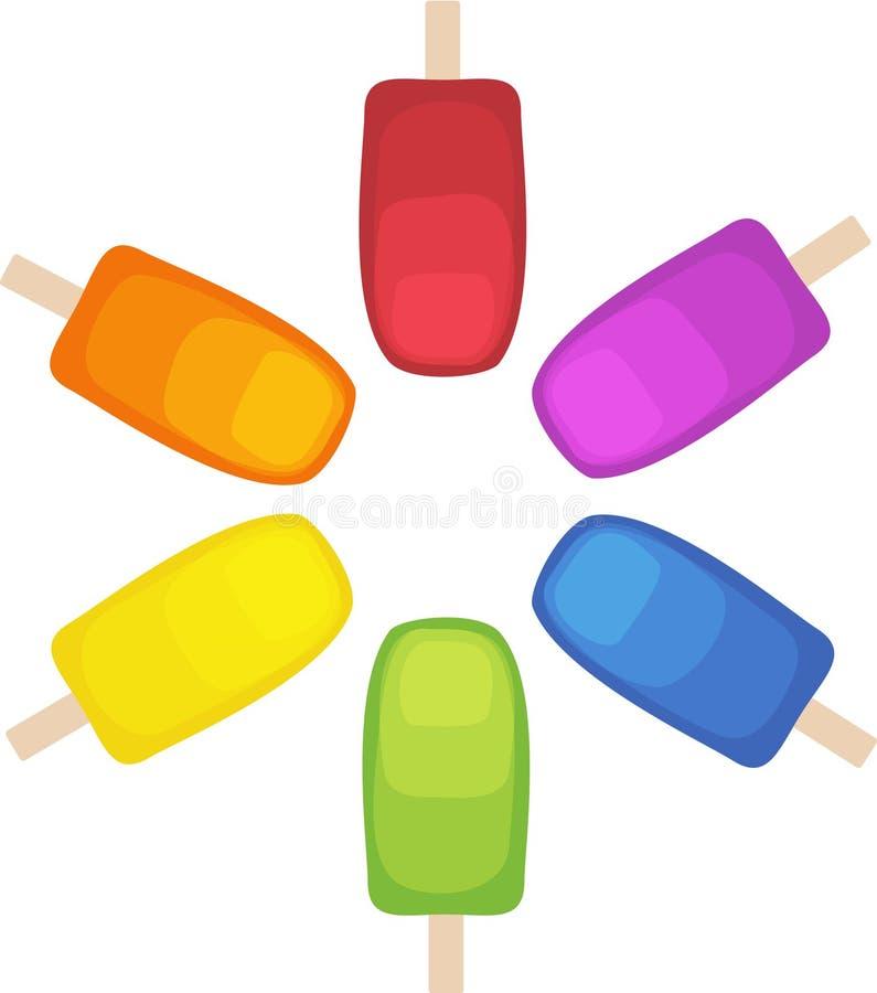 Picolés do arco-íris em um círculo fotografia de stock royalty free