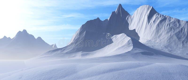 Picos de la nieve Panorama de un paisaje de la montaña ilustración del vector