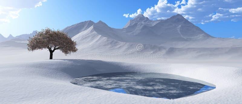 Picos de la nieve Panorama de un paisaje de la montaña stock de ilustración