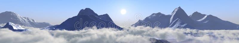 Picos de la nieve Panorama de un paisaje de la montaña libre illustration