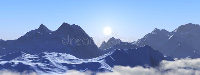 Picos de la nieve Panorama de un paisaje de la montaña imagenes de archivo