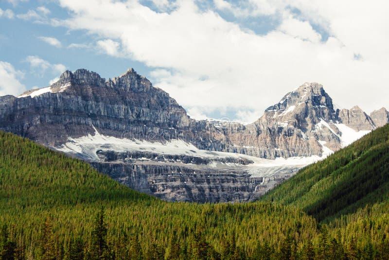 Picos de montaña rocosa que se elevan sobre bosque imperecedero fotos de archivo