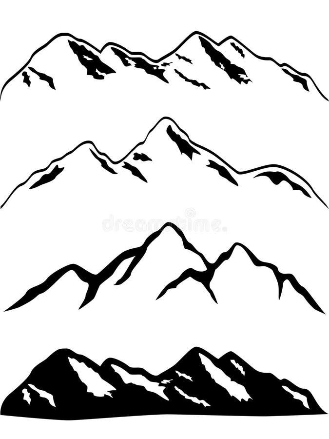 Picos de montanha nevado ilustração stock