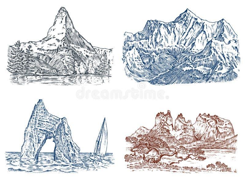 Picos de montanhas, vintage Everest e matterhorn, mão de vista velha tirada, esboço ou estilo gravado, versões diferentes ilustração stock