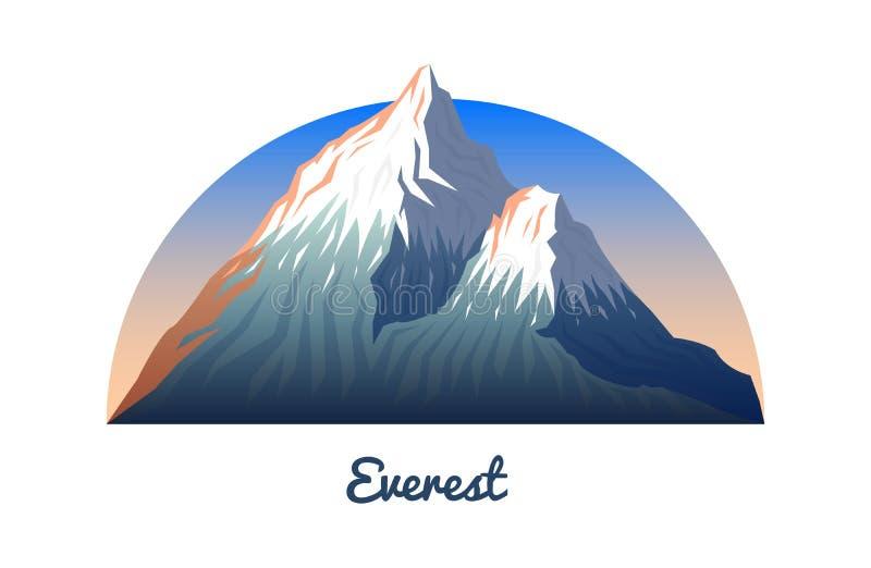 Picos e paisagem de Monte Everest cedo em uma luz do dia curso ou acampamento, escalando Partes superiores exteriores do monte Sa ilustração royalty free